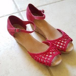 Toms Pink Stucco Wedge Sandals